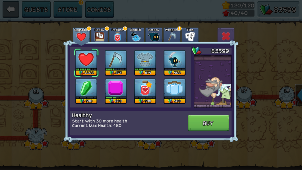 Merchant upgrades in the shop