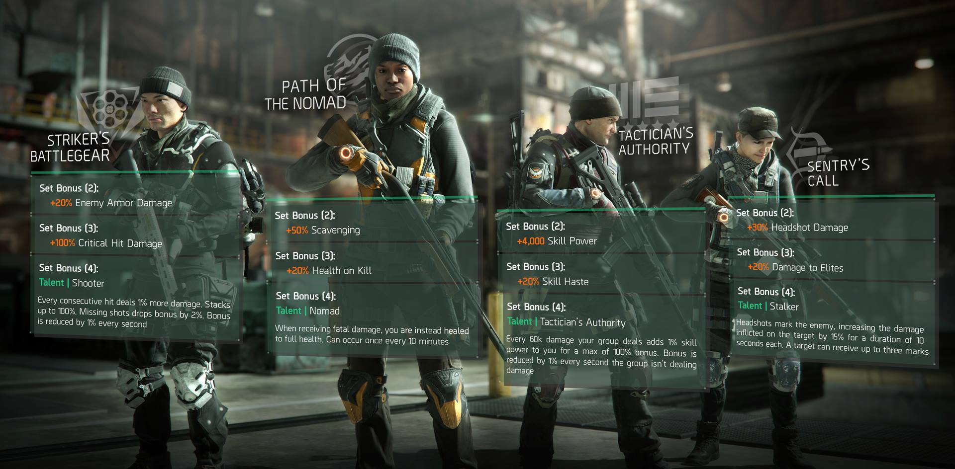 The Division, Gear Sets, Incursions, Update 1.1
